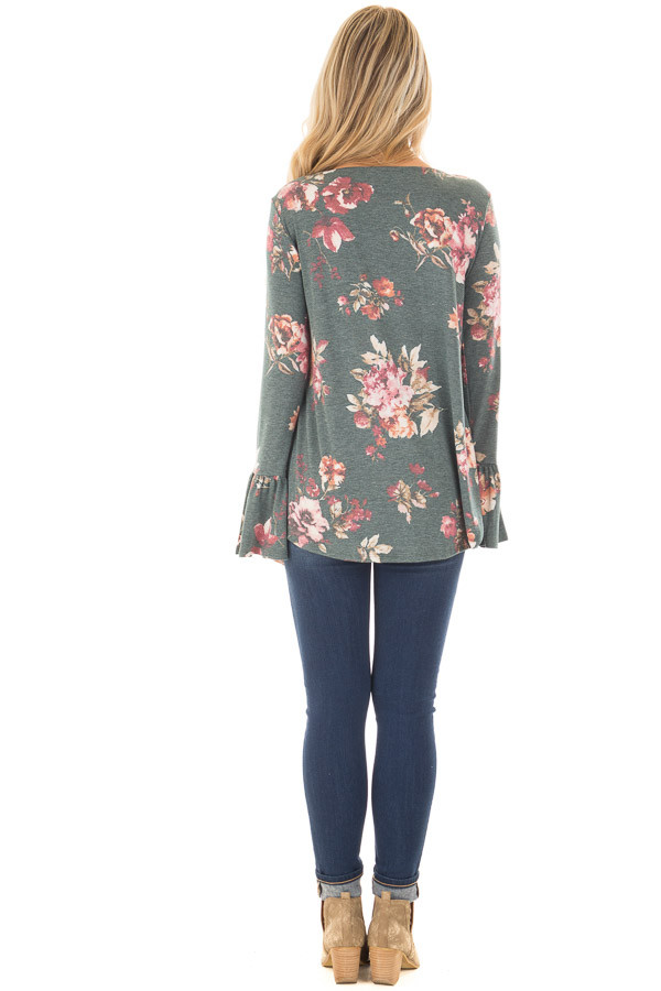 Forest Green Floral Print Baby Doll Top with Bell Sleeves back full body