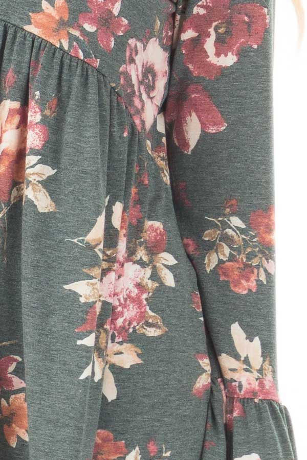Forest Green Floral Print Baby Doll Top with Bell Sleeves detail