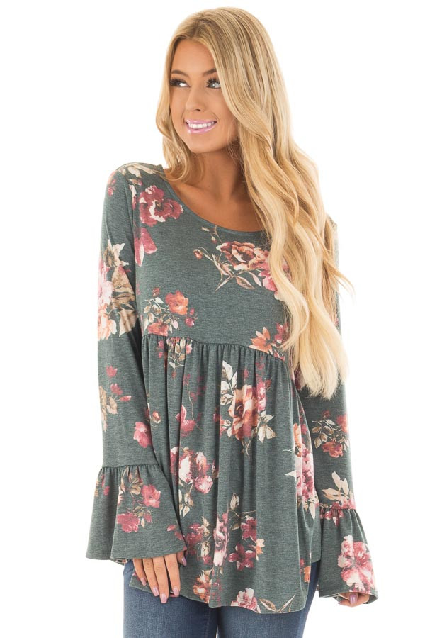 Forest Green Floral Print Baby Doll Top with Bell Sleeves front close up