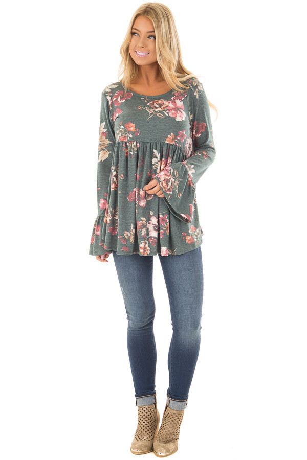 Forest Green Floral Print Baby Doll Top with Bell Sleeves front full body