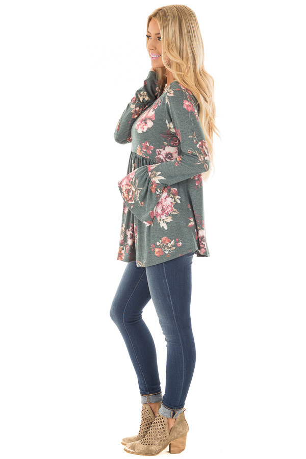 Forest Green Floral Print Baby Doll Top with Bell Sleeves side full body