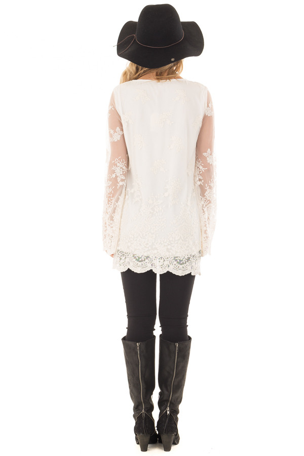 Ivory Blouse with Sheer Lace Sleeves back full body