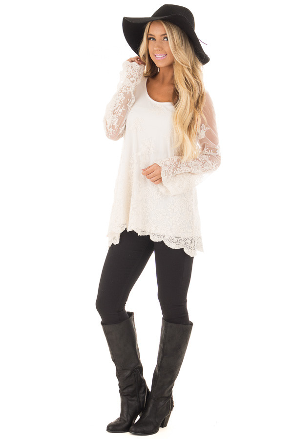 Ivory Blouse with Sheer Lace Sleeves front full body