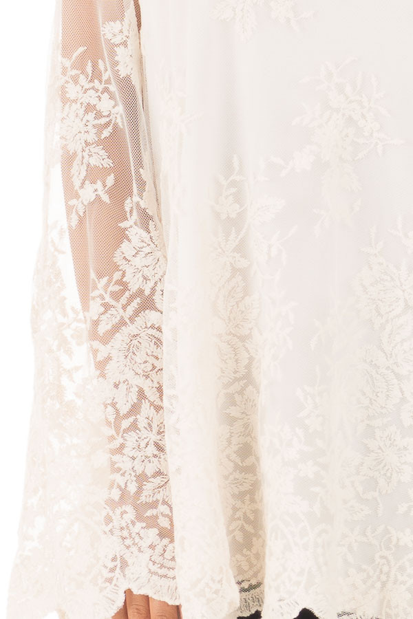 Ivory Blouse with Sheer Lace Sleeves detail