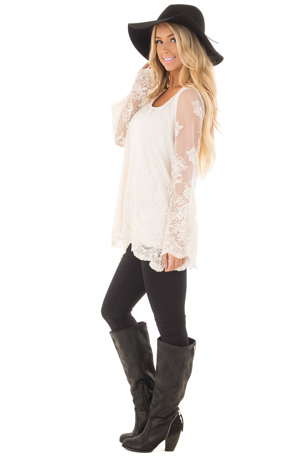 Ivory Blouse with Sheer Lace Sleeves side full body