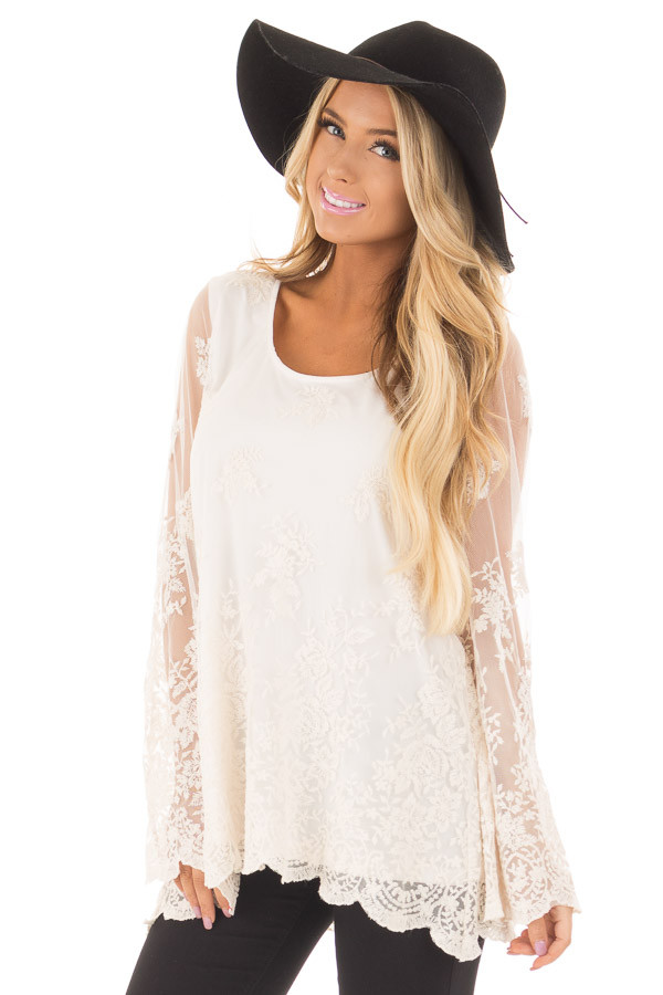 Ivory Blouse with Sheer Lace Sleeves front close up