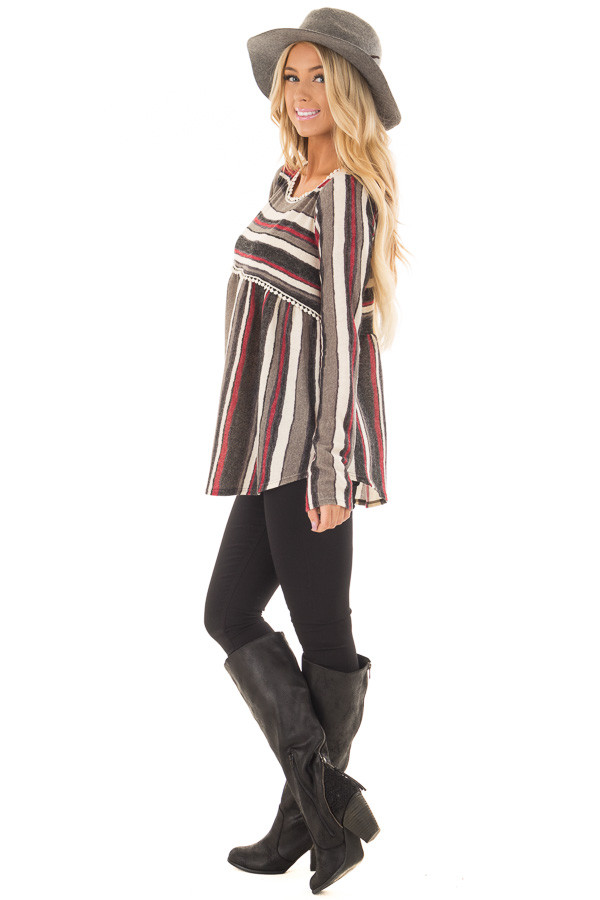 Burgundy and Charcoal Striped Knit Top with Crochet Trim side full body