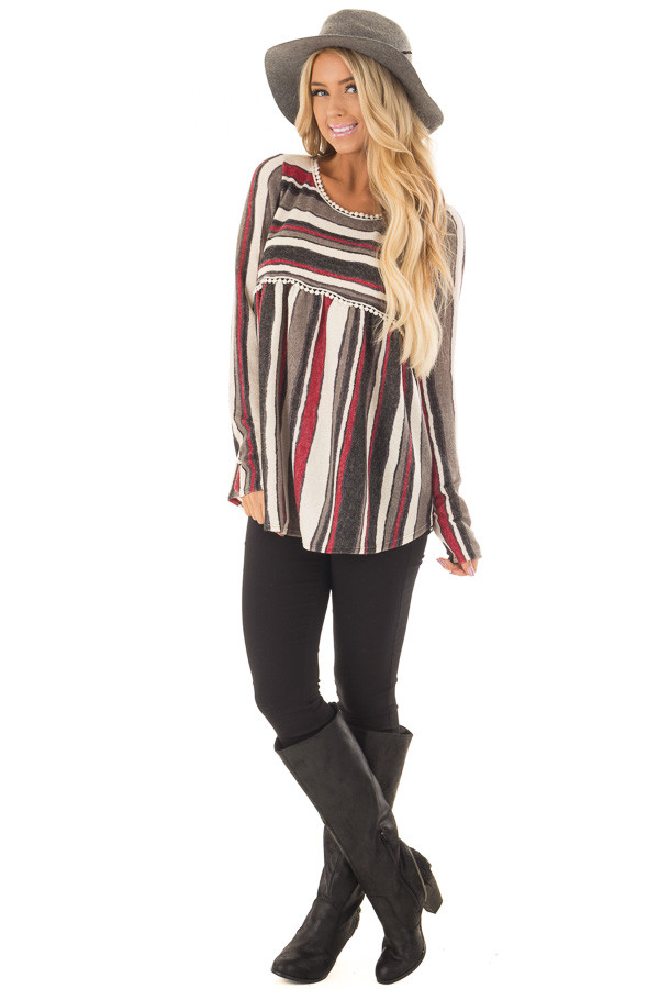Burgundy and Charcoal Striped Knit Top with Crochet Trim front full body