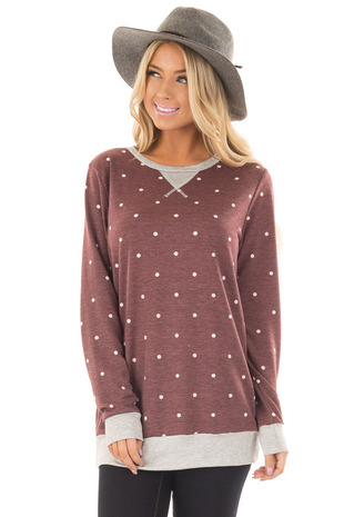 Burgundy Polka Dot Top with Heather Grey Details front close up