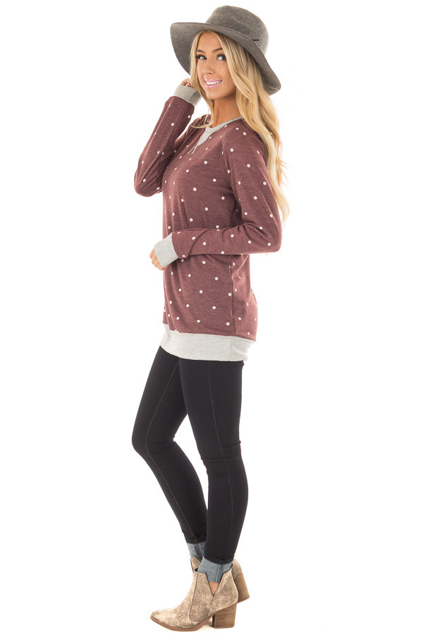 Burgundy Polka Dot Top with Heather Grey Details side full body