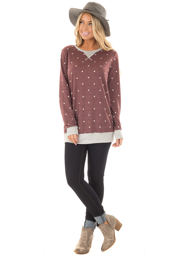 Burgundy Polka Dot Top with Heather Grey Details front full body