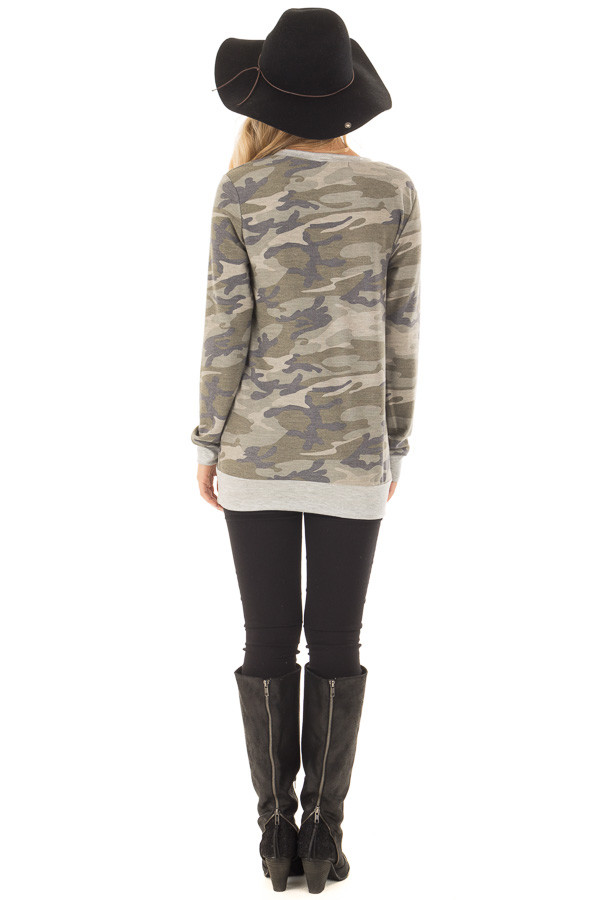Camouflage Long Sleeve Top with Heather Grey Details back full body
