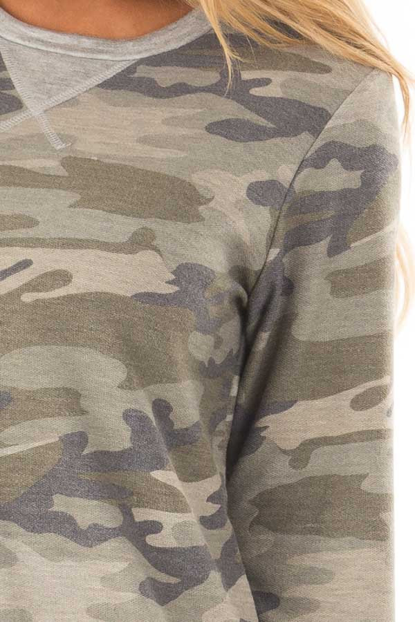 Camouflage Long Sleeve Top with Heather Grey Details detail