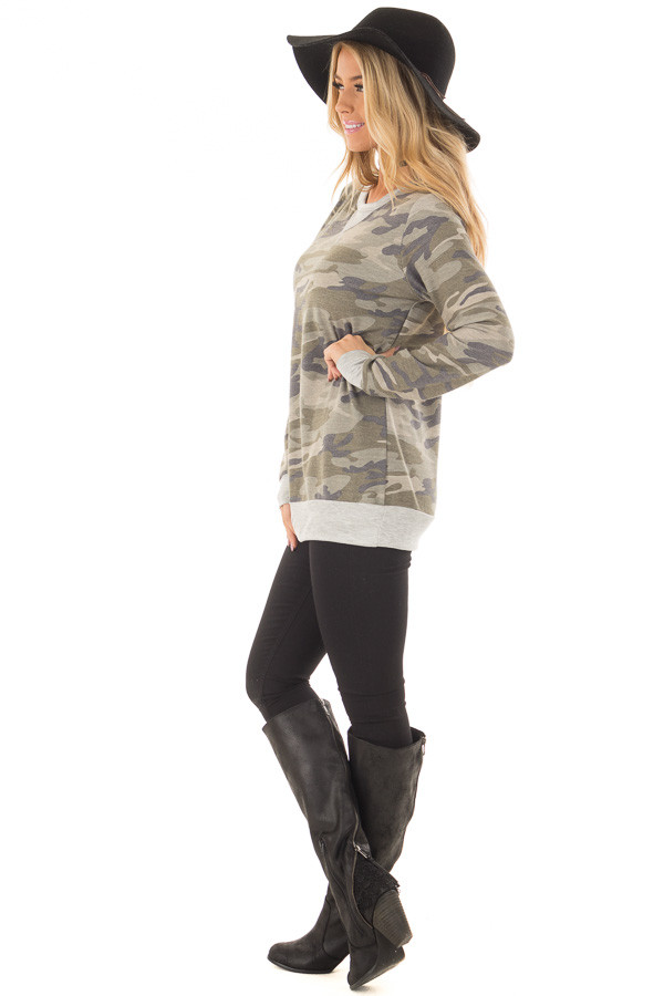 Camouflage Long Sleeve Top with Heather Grey Details side full body