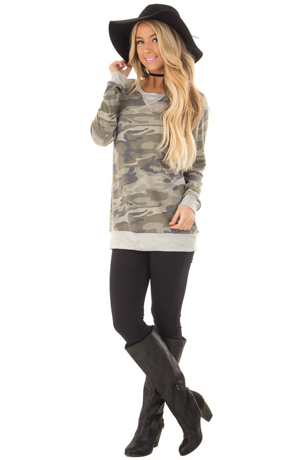 Camouflage Long Sleeve Top with Heather Grey Details front full body