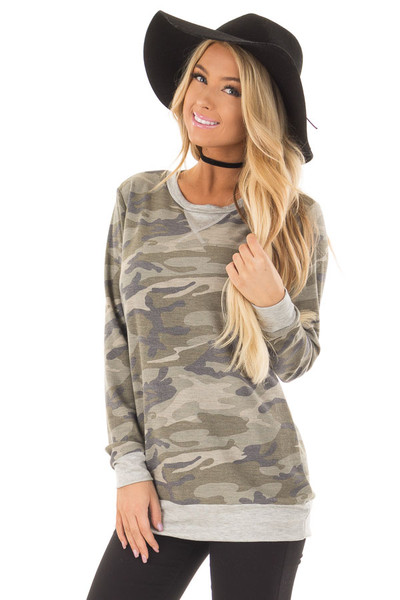 Camouflage Long Sleeve Top with Heather Grey Details front close up