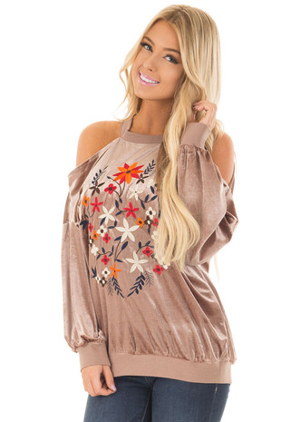 Light Mocha Velvet Cold Shoulder Top with Colorful Embroidery front close up