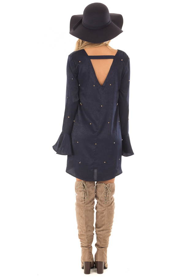 Navy Silky Bell Sleeve Dress with Embellished Jewels back full body