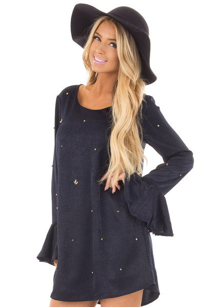 Navy Silky Bell Sleeve Dress with Embellished Jewels front close up