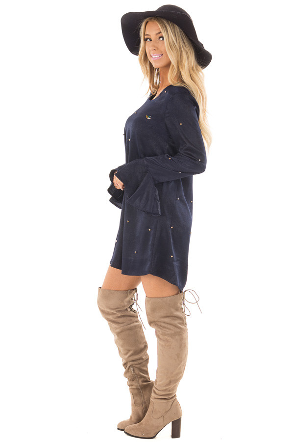 Navy Silky Bell Sleeve Dress with Embellished Jewels side full body