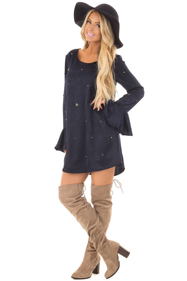 Navy Silky Bell Sleeve Dress with Embellished Jewels front full body
