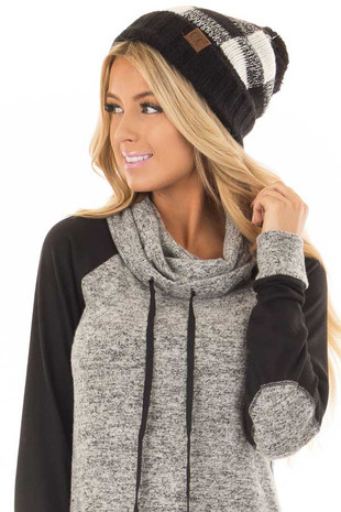 Black and Ivory Plaid Beanie with Fleece Lining front view