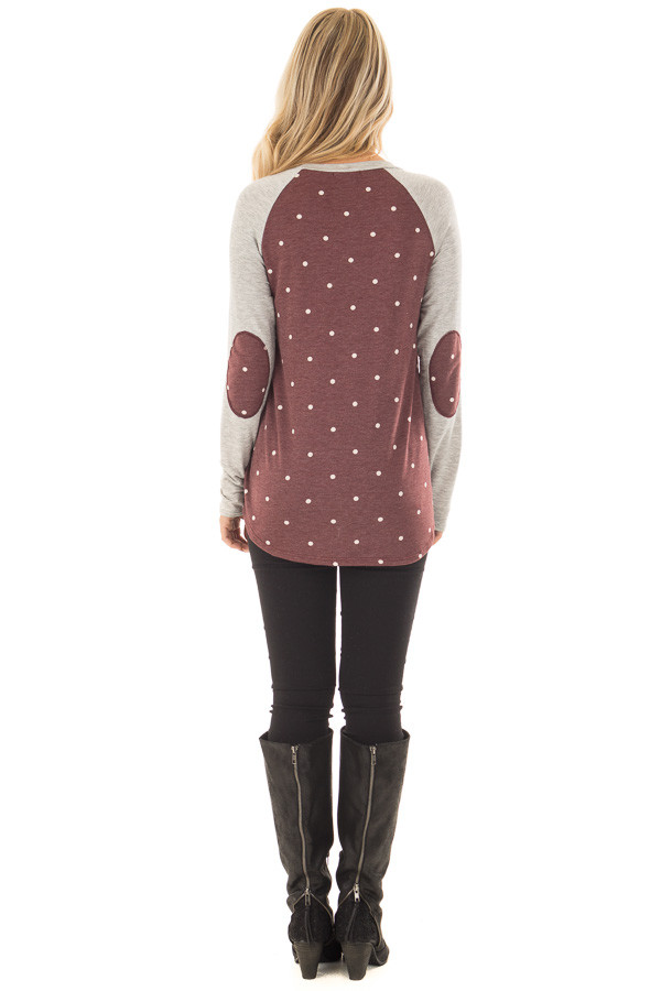 Burgundy Polka Dot Top with Raglan Sleeves and Elbow Patches back full body