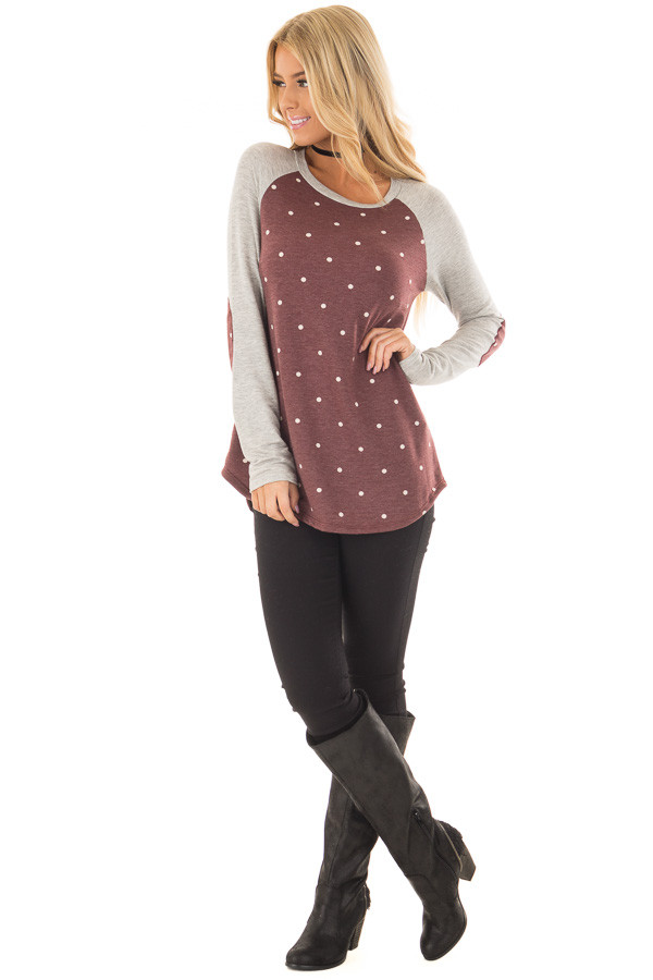 Burgundy Polka Dot Top with Raglan Sleeves and Elbow Patches front full body