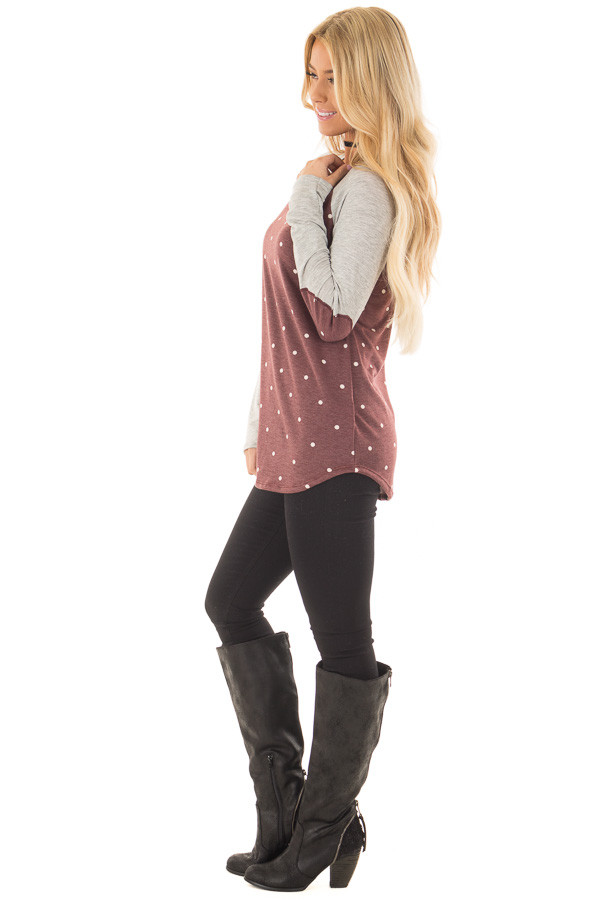Burgundy Polka Dot Top with Raglan Sleeves and Elbow Patches side full body