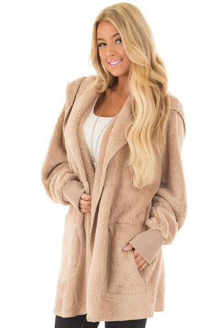Taupe Fleece Hooded Cardigan with Front Pockets front close up