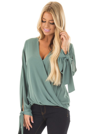 Teal Surplice Blouse with Tie Sleeve Details front close up