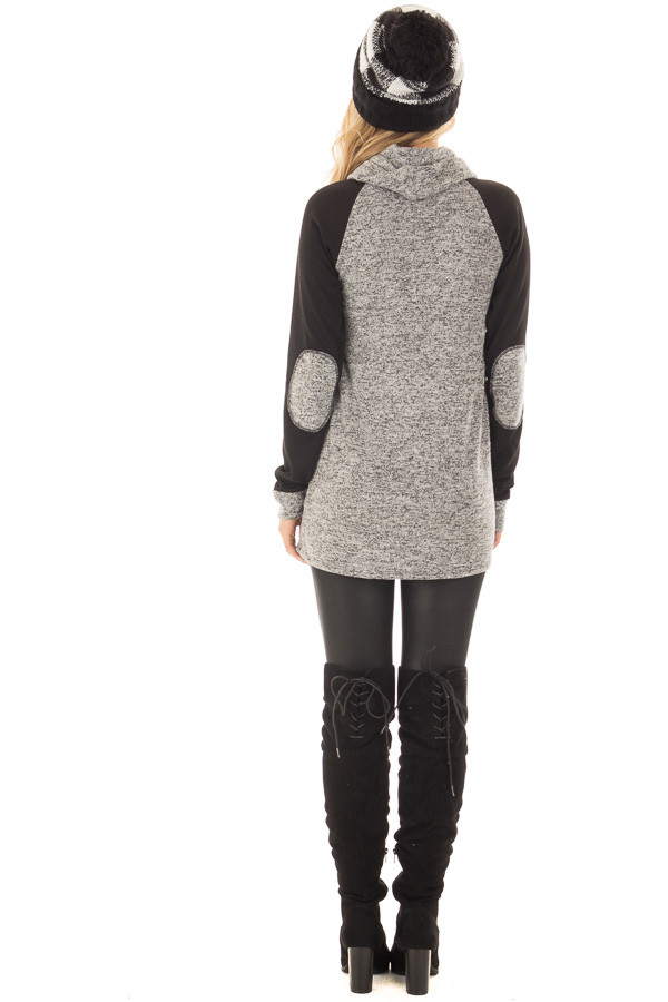 Grey Two Tone Cowl Neck Sweater with Black Contrast back full body