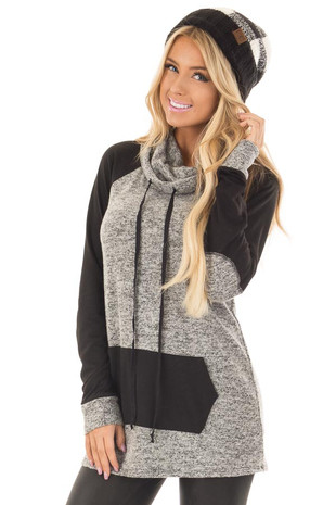 Grey Two Tone Cowl Neck Sweater with Black Contrast front close up