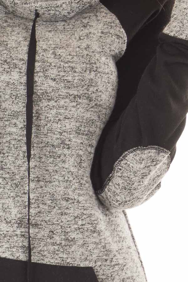 Grey Two Tone Cowl Neck Sweater with Black Contrast detail