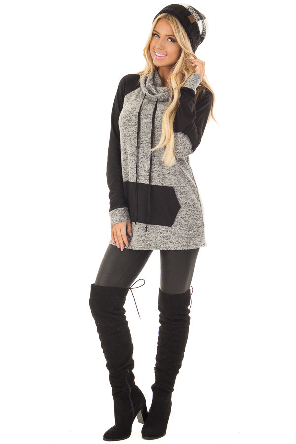 Grey Two Tone Cowl Neck Sweater with Black Contrast front full body