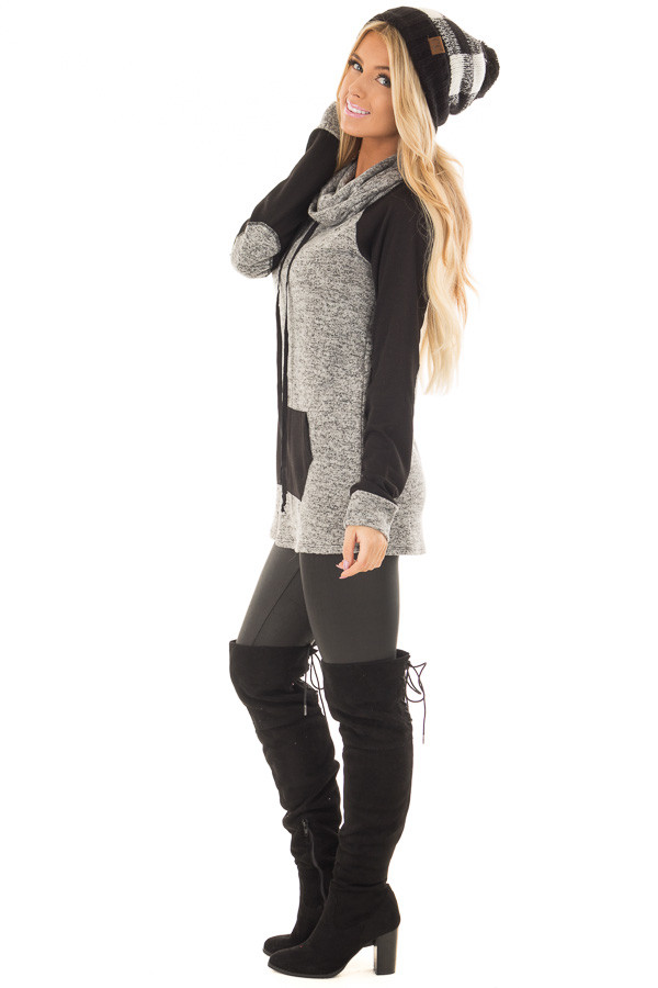 Grey Two Tone Cowl Neck Sweater with Black Contrast side full body