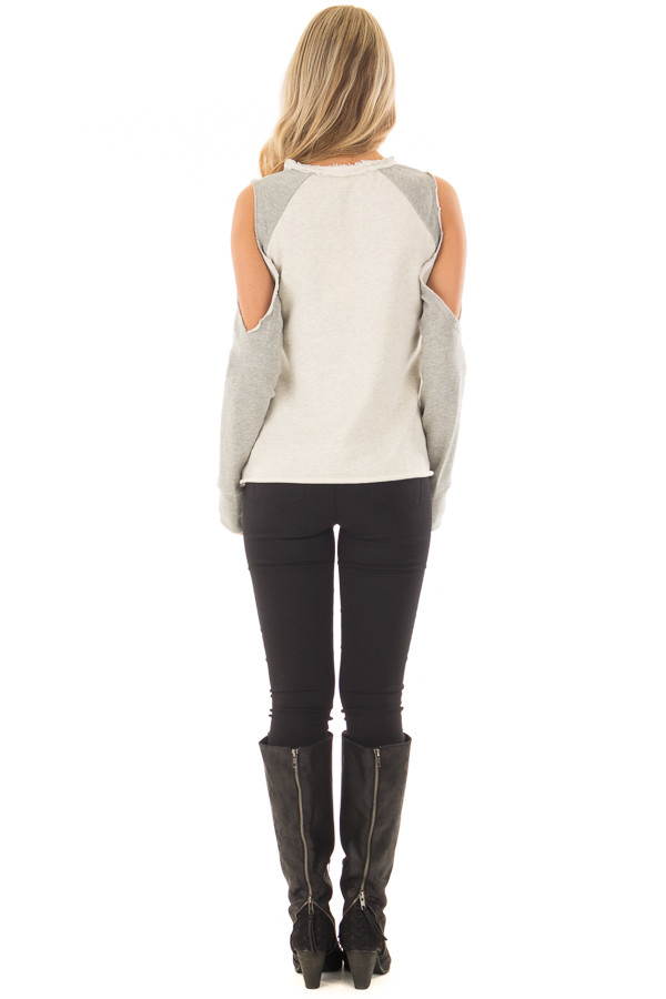 Cream and Heather Grey Cold Shoulder Sweater back full body