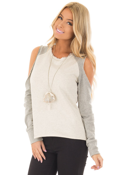 Cream and Heather Grey Cold Shoulder Sweater front close up