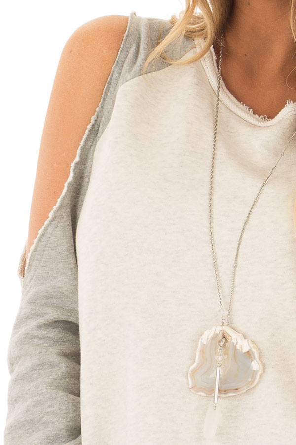 Cream and Heather Grey Cold Shoulder Sweater detail