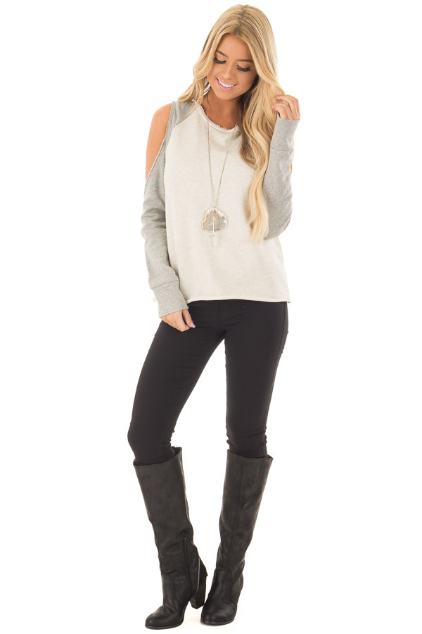 Cream and Heather Grey Cold Shoulder Sweater front full body