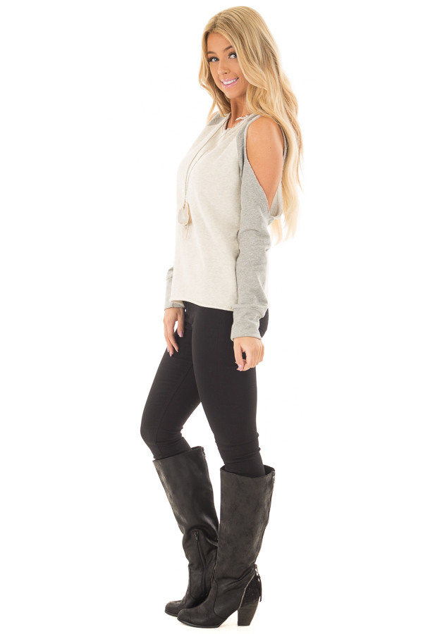Cream and Heather Grey Cold Shoulder Sweater side full body