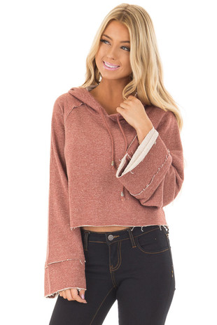 Rust Cropped Hooded Sweater with Long Bell Sleeves front close up
