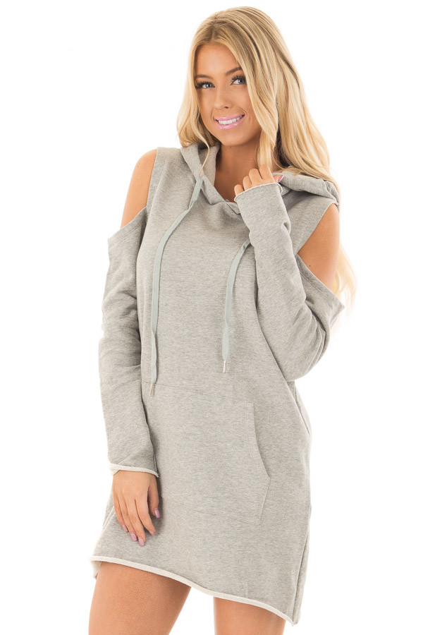 Heather Grey Cold Shoulder Tunic Hoodie with Kangaroo Pocket front close up