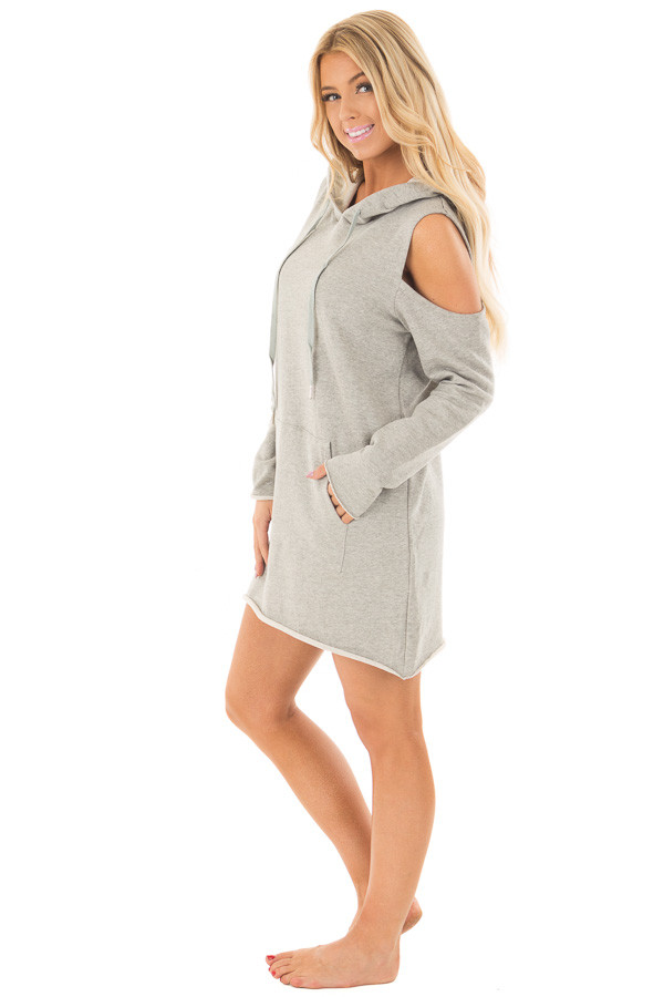 Heather Grey Cold Shoulder Tunic Hoodie with Kangaroo Pocket side full body