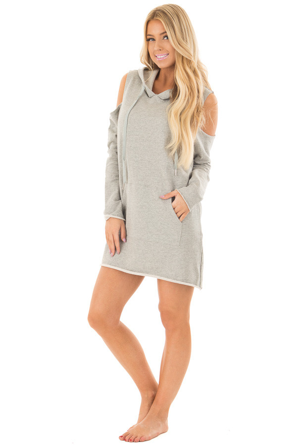 Heather Grey Cold Shoulder Tunic Hoodie with Kangaroo Pocket front full body