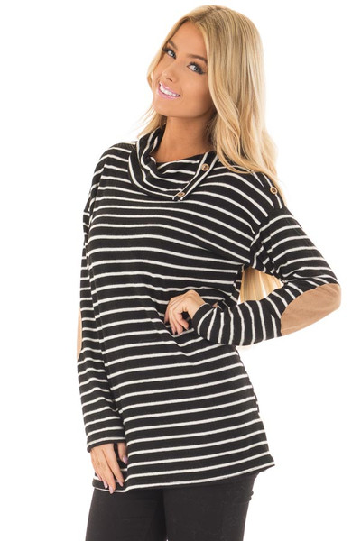Black Striped Cowl Neck Top with Faux Suede Elbow Patches front close up