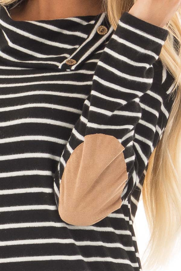 Black Striped Cowl Neck Top with Faux Suede Elbow Patches detail