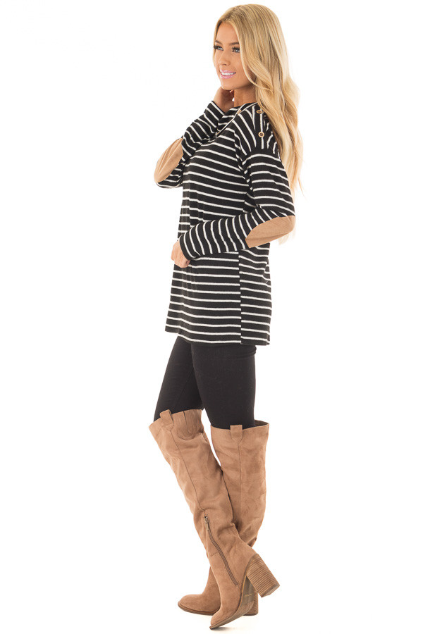 Black Striped Cowl Neck Top with Faux Suede Elbow Patches side full body