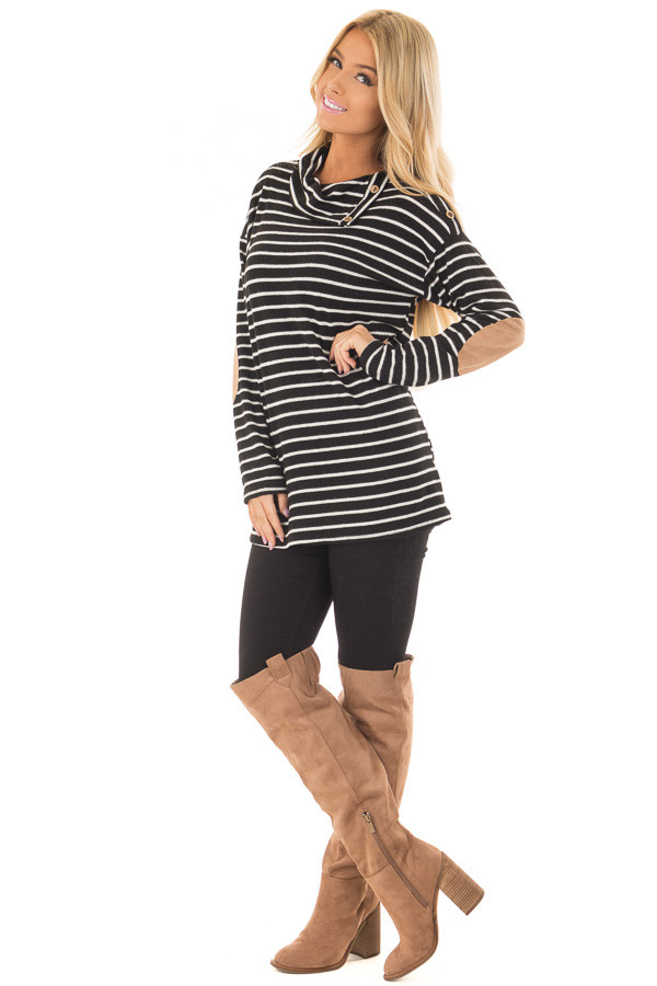 Black Striped Cowl Neck Top with Faux Suede Elbow Patches front full body