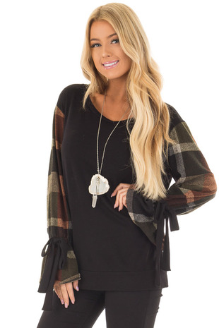Black Top with Plaid Long Sleeves and Cuff Ties front close up